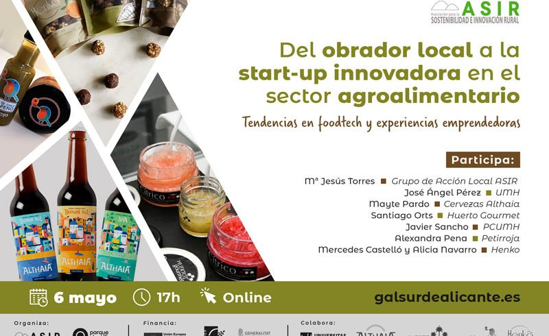 "Jueves 6 de mayo 17:00 Jornada online ""Del obrador local a la start-up innovadora en el sector agroalimentario"""