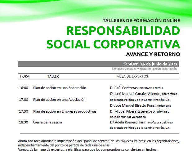 Talleres online sobre Responsabilidad Social Corporativa